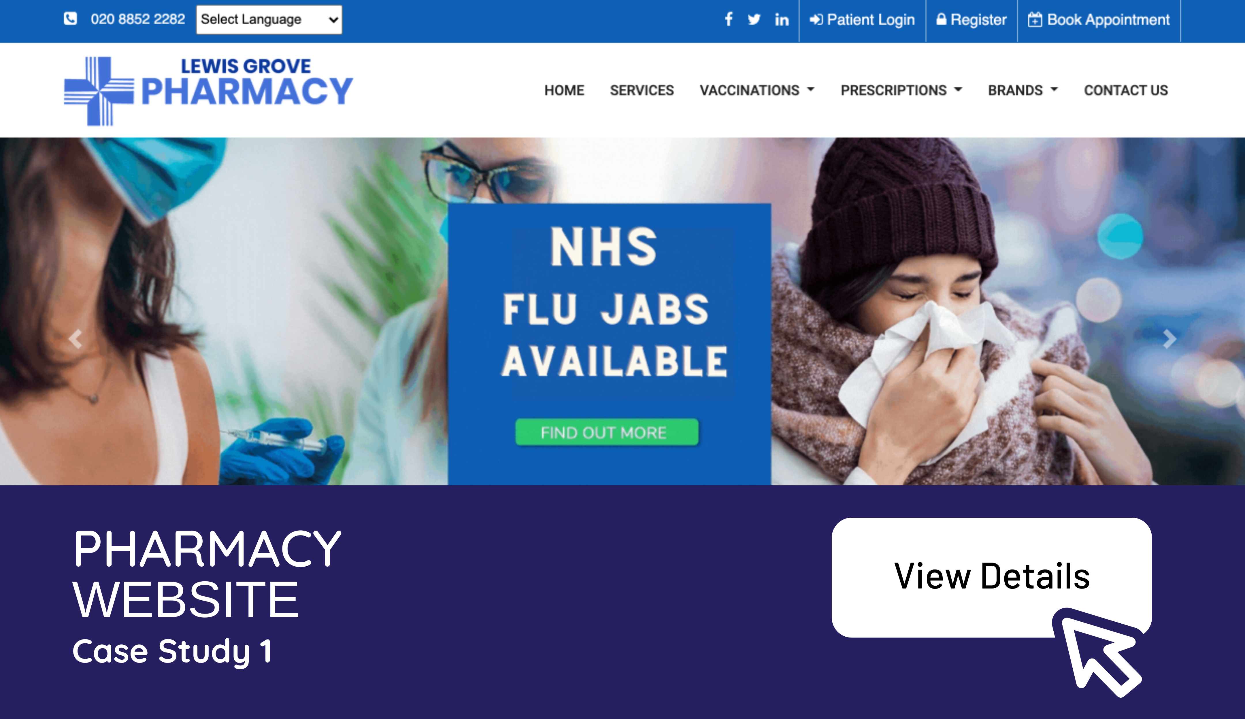 Pharmacy Website development example for community pharmacy